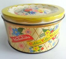 Mackintosh's Golden Toffee Wafers Vintage Necco Candy Tin Can Floral  England