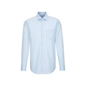 Seidensticker Herren Langarm Business Hemd Regular blau Fil á Fil Kent 197310.12