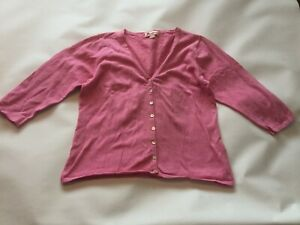 Ladies Genuine Monsoon V-neck Pink Cardigan Jumper Top 3/4 Sleeve SIZE Uk 14 Vgc