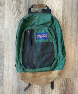 Vintage Jansport Green Backpack Leather Bottom Made In USA *read description