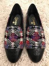 NIB Chanel 16K Black Purple White Tweed CC Cap Toe Mule Loafer Moccasin Flats 40