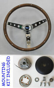 "Bronco F100 F150 F250 F350 Grant Wood Steering Wheel Walnut Hardwood 13 1/2"""