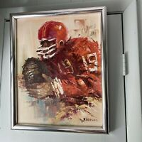 Vintage Painting Football Player No 19 Signed F Dressen Mid Century Framed
