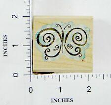Wood Block Rubber Stamp: 2034E Scroll Wings, Butterfly
