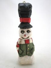 """Bill Browne Wood Carved Snowman Christmas Ornament 6"""" Folk Art Signed & Dated A"""