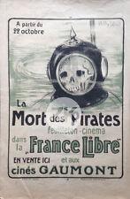 LA MORT DES PIRATES WWI Gaumont SCAPHANDRIER Film Guerre W. WOOD Affiche 1918