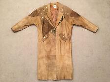 John Weitz Women's Vtg Tan / Brown Patckwork & Lined Long Leather Coat, Size Med