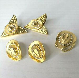 Gold Tone Cowboy Hat Accent Collar Tips, Earrings, And Bolo Tie Pendant Set Of 5