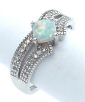 Vintage Women Ladies Size 7.75 US Aquamarine Stone Sterling Silver 925 Ring G610