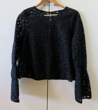 Pretty Black Lace with Long Bell Sleeves Top from Country Road - size 10