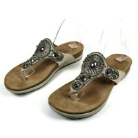 Dansko Womens Size 38 US 7.5-8 Pamela Jeweled Beaded Taupe Suede Thong Sandals