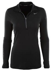 NWT Nike Women DriFit Black Longsleeve Halfzip Run Top Size Medium Style 685910
