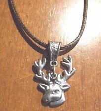 collier cordon ciré marron 48 cm avec pendentif cerf 25x23 mm