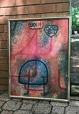 Vintage Abstract Lithograph Print Wall Hanging Retro Art Mid Century Modern Klee