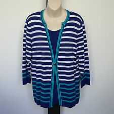 'FELLA HAMILTON' AS NEW SIZE '14' BLUE, AQUA & WHITE 3/4 SLEEVE STRIPED TOP