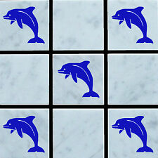 20 x Dolphin Vinyl Wall Tile Stickers Decals Transfer For Bathroom/Kitchen Tiles