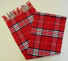 CASHMERE Scarf TARTAN Red CHECKED Plaid CHECKS Made IN Scotland UNISEX Women MEN