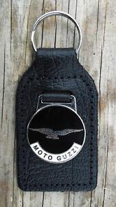 MOTO GUZZI CLASSIC MOTORCYCLE KEY RING, BLACK. LEATHER FOB.