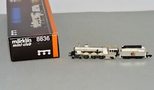 Z Scale Marklin 8836 Silver Plated 4-6-2 Steam Locomotive & Tender LNIB