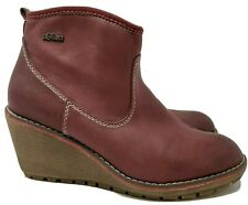 St. Oliver Ladies Ankle Boots UK 5 Wine Leather Wedge