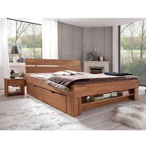 Futonbett Bett Kernbuche Massiv geölt 140x200cm inkl. 4 Bettkästen, Fußteilregal