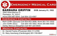 Custom Personalized Emergency Medical Card 2 sided ICE In case of emergency ID