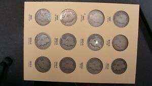 COMPLETE BARBER HALF DOLLAR SET 1892-1915 IN OLD LIBRARY OF COINS ALBUMS