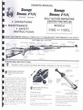 Savage Stevens Models 110C - 110CL Bolt Action Center Fire Rifle Owners Manual