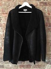 Helmut Lang Black Shearling Leather Coat Jacket Size Medium