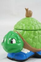 Vintage '71 Ceramic Tennis Shoe Turtle Container Statue Figure Trinket Box Snail