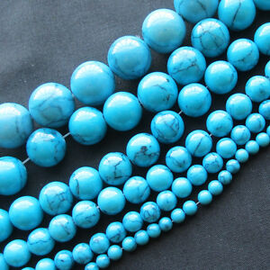 1Strand Turquoise Loose Natural Gemstone Gem Stone Spacer Beads From 4MM to 14MM