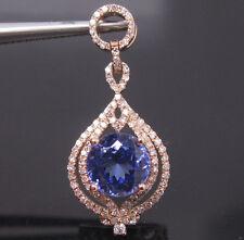 SOLID 14K ROSE GOLD NATURAL GORGEOUS BLUE TANZANITE VVS DIAMOND WEDDING PENDANT
