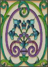 Art Deco Fleur-de-Lys Stained Glass Counted Cross Stitch Complete Kit #33-102