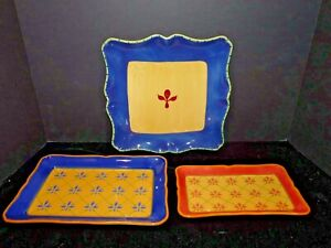 """3 pc Pfaltzgraff Pistoulet 11 1/8"""" Square Plate 9"""" Red 10"""" Blue Rectangular Tray"""