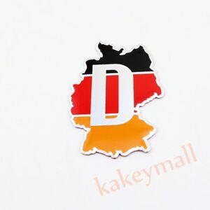 Chrome 3D Decal Sticker Badge Emblem DE Germany Map Flag Logo Car Accessory Trim