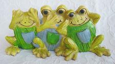 3 er Set Frösche Skulptur nichts hören sehen sagen Frosch Trio Deko Holz Optik