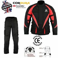 Men's Motorbike Cordura Waterproof CE Armour Motorcycle Jackets Trousers Suit