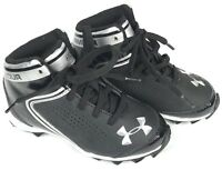 UNDER ARMOUR Boy's Hammer Mid Black Football Cleats / Shoes Youth Black A7