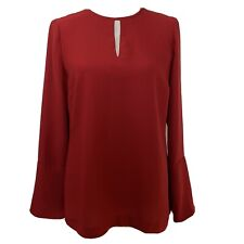 HOBBS Red Keyhole Neck Long Sleeve Blouse Top Size 10