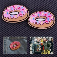 2x Cute Doughnut Embroidered Sew Iron on Donut Badge Applique DIY Clothing Patch