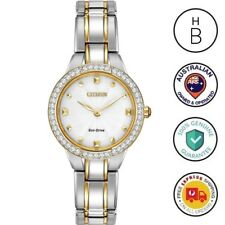 New Citizen Eco-Drive Silhouette Ladies Watch Silver & Gold 2-Tone EX1364-59A