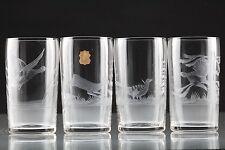 4 Vintage Becher Kristall Gläser VEB Kunstglas Wasungen Vogel Reh Gravur U5U
