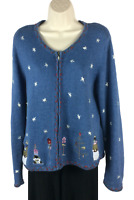 Womens Christopher Banks Blue Cardigan Sweater Size L Large Winter Holiday Snow