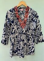 Lilly Pulitzer Sarasota Tunic Top XS Navy Blue Beaded Shirt Cotton Blouse 0 2