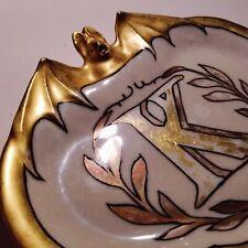 ANTIQUE 1890 ART NOUVEAU BAT CARD TRAY GOLD PORCELAIN EXCELLENT CONDITION