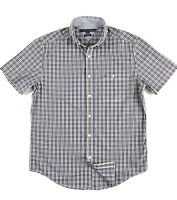 TOMMY HILFIGER Shirt Men's Short Sleeve Poplin Black/ Blue Gingham Classic Fit
