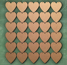 30 x 5 cm CUORE DUE FORI Bunting Laser Cut MDF Craft BIANCHI abbellimento