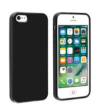 SDTEK Matte Case for iPhone SE / 5 / 5s (Black) Soft Cover (Black)