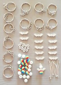 12 RAINBOW GUARDIAN ANGEL KEYRING MAKING KIT 8MM BEADS CHARMS SILVER WINGS