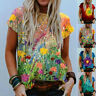 Women Summer Crew Neck Short Sleeve T Shirt Casual Floral Blouse Loose Tunic Top